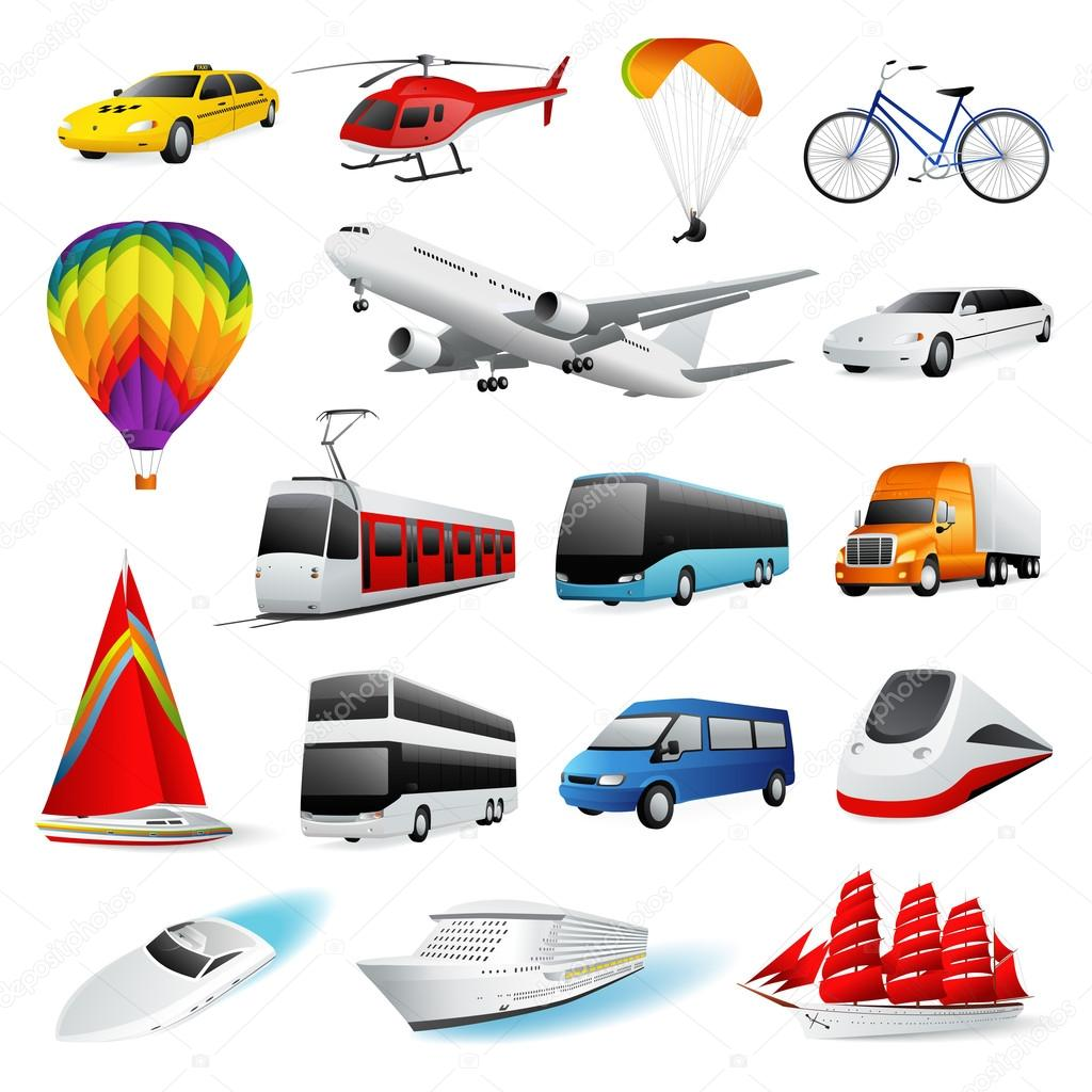 Vector icon set: Isolated Air and Ground Transport. Vector
