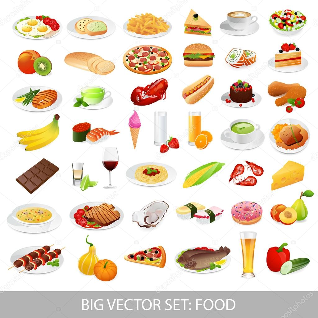 Big vector set: food icons (various delicious dishes). Traditional cuisine. Main course of different countries. Healthy food , junk food , seafood, fast food, drinks. Isolated detailed meals illustrations on white background stock vector
