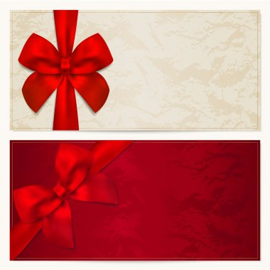 Gift Voucher (coupon, invitation or card) template with floral pattern, border and Gift red bow (ribbons)