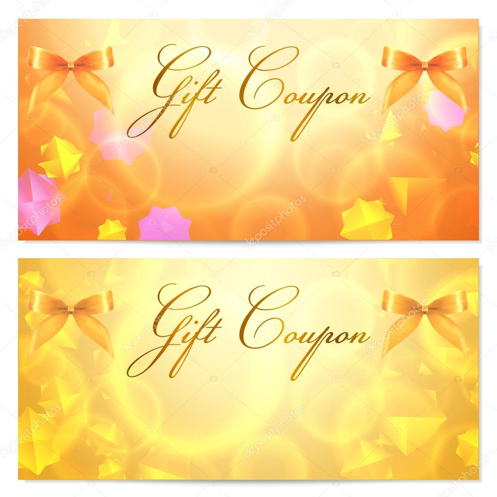 Gift Coupon (voucher, Invitation Or Card) Template With Abstract Stars  Pattern And Bow  Coupon Voucher Template