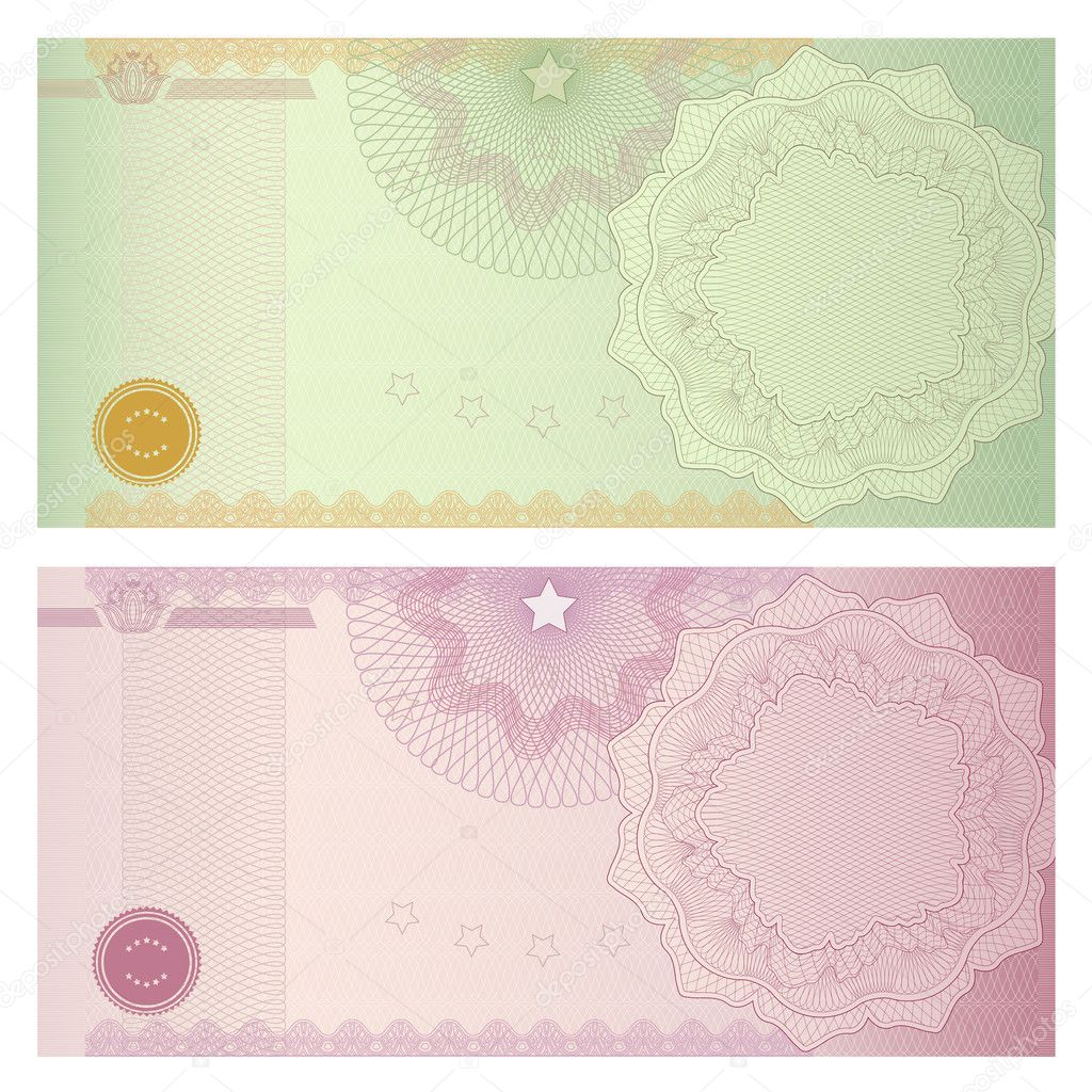 Voucher template with guilloche pattern (watermarks) and border. Background design usable for gift voucher, coupon, banknote, certificate, diploma, check, currency, cheque. Vector
