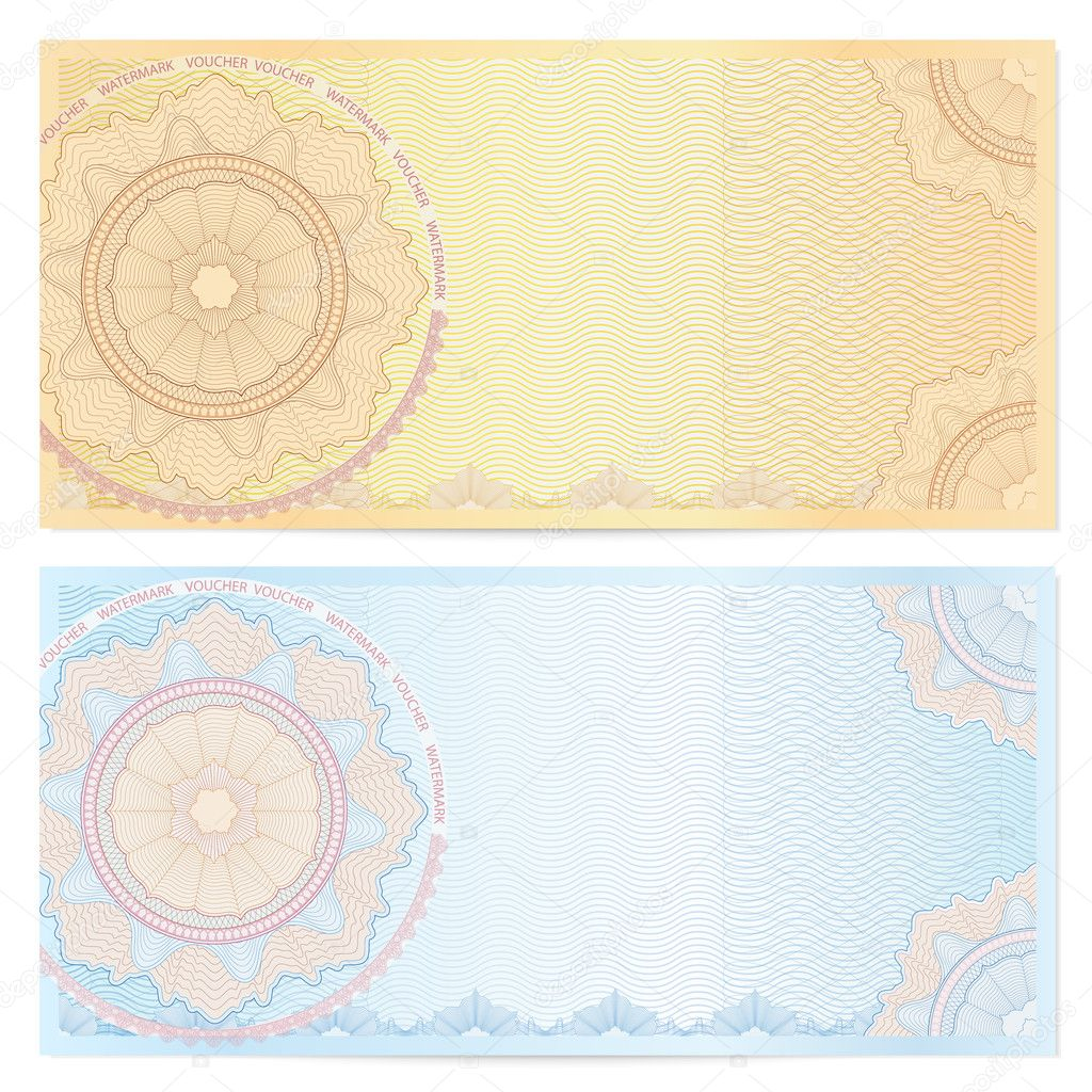 voucher template with guilloche pattern watermarks and border