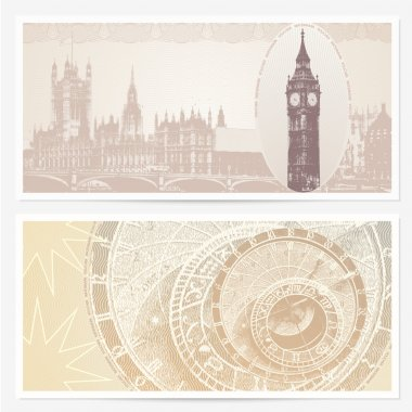 Gift Voucher (coupon) template with guilloche pattern (watermarks) and landmarks. Backgrounds with Big Ben and (London, Great Britain) and Astronomical Clock (Prague, Czech)