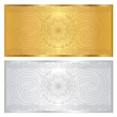 Gold , solver Voucher template with guilloche pattern (watermark) and border. This background design usable for gift voucher, coupon, banknote, certificate, diploma, currency, check (cheque). Vector