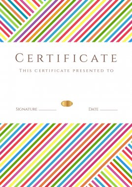 Vertical certificate (diploma) of completion (template) with colorful stripy pattern