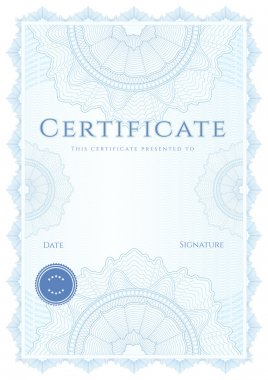 Blue certificate of completion (template). Guilloche pattern on background