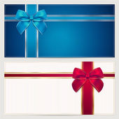 Fotografie Invitation or gift voucher (template) with corrugated texture, border and blue and red bow (ribbons)