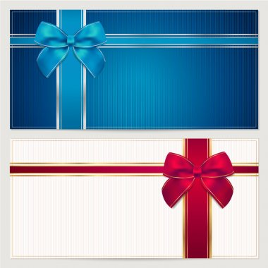 Invitation or gift voucher (template) with corrugated texture, border and blue and red bow (ribbons)