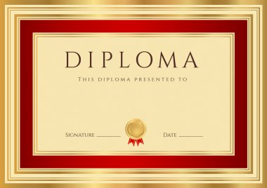 Horizontal Diploma or Certificate (template) with guilloche pattern (watermarks), gold, red border and first place golden medal