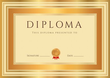 Horizontal Diploma or Certificate (template) with guilloche pattern (watermarks), bronze and gold border