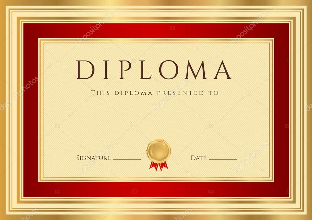 Horizontal Diploma Or Certificate Template With Guilloche Pattern
