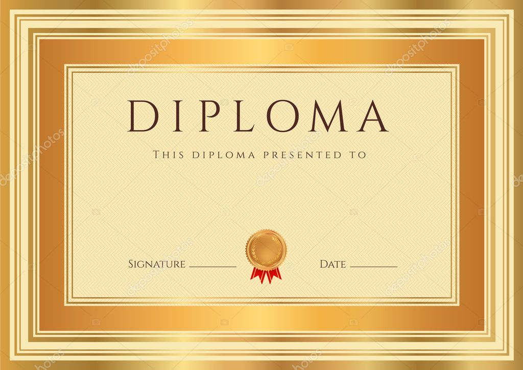 Horizontal diploma or certificate template with guilloche horizontal diploma or certificate template with guilloche pattern watermarks bronze and gold border this background design usable for invitation yadclub Images