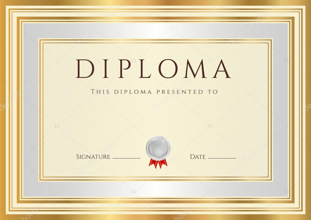 Horizontal Diploma Or Certificate (template) With Guilloche Pattern  (watermarks), Silver And Gold Border. This Background Design Usable For  Invitation, ...  Official Certificate Template