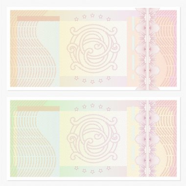 Voucher template with guilloche pattern (watermarks) and border. This background design usable for gift voucher, coupon, banknote, certificate, diploma, check (cheque), currency etc.