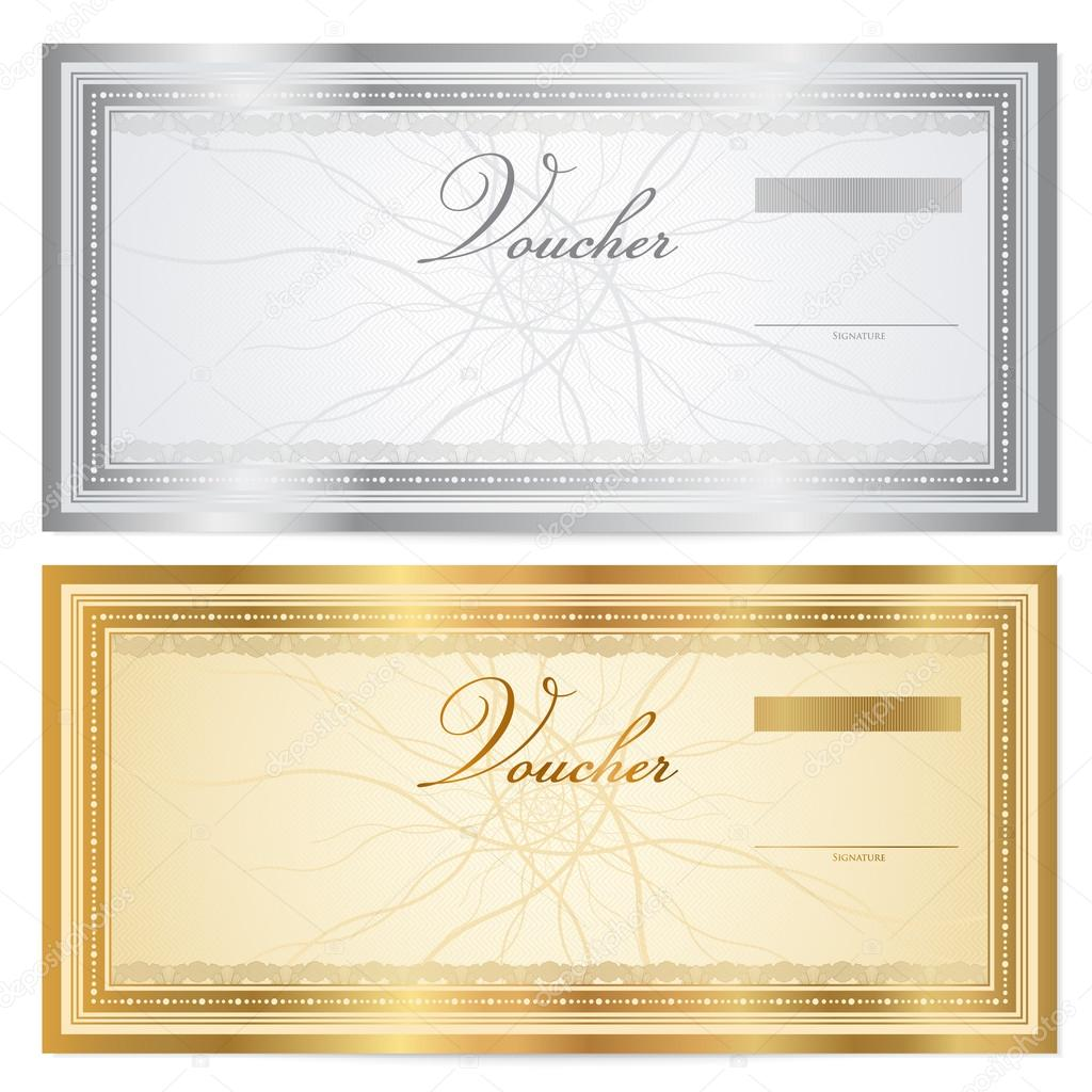 Voucher Template With Guilloche Pattern (watermarks) And Border. This  Background Usable For Gift Certificate Voucher, Coupon, Banknote, Diploma,  Money ...