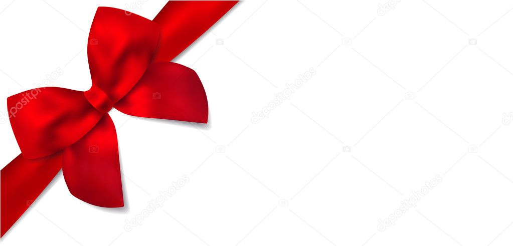 Gift certificate with isolated Gift red bow (ribbons). This design usable for gift voucher, coupon, invitation, certificate, greeting card, anniversary card, Christmas card