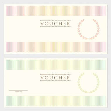 Voucher template with colorful stripy pattern and border. Background designe for gift voucher, coupon, banknote, certificate, diploma, currency, check, cheque, money design etc.