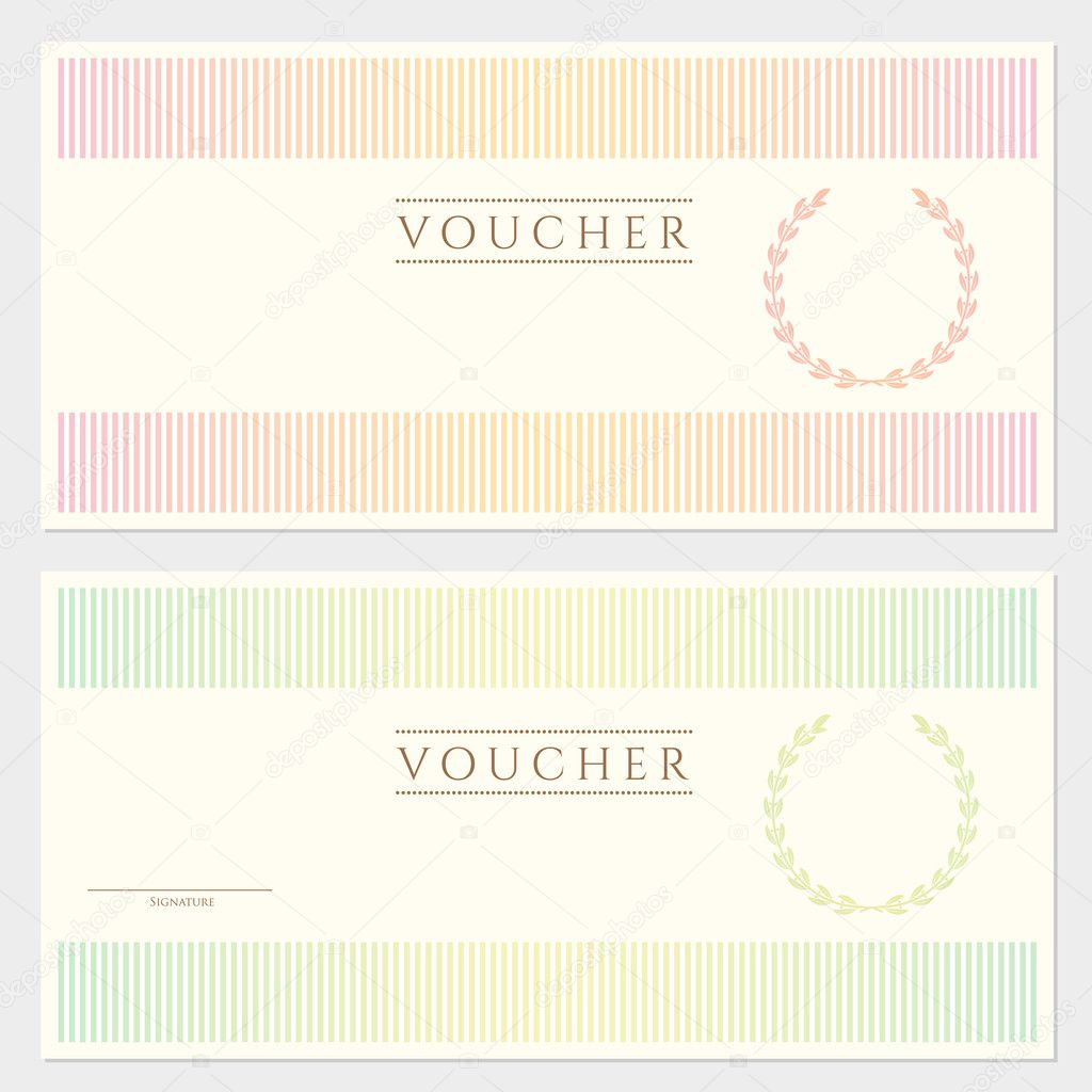 Voucher Template With Colorful Stripy Pattern And Border. This Background  Usable For Gift Voucher, Coupon, Banknote, Certificate, Diploma, Currency,  ...
