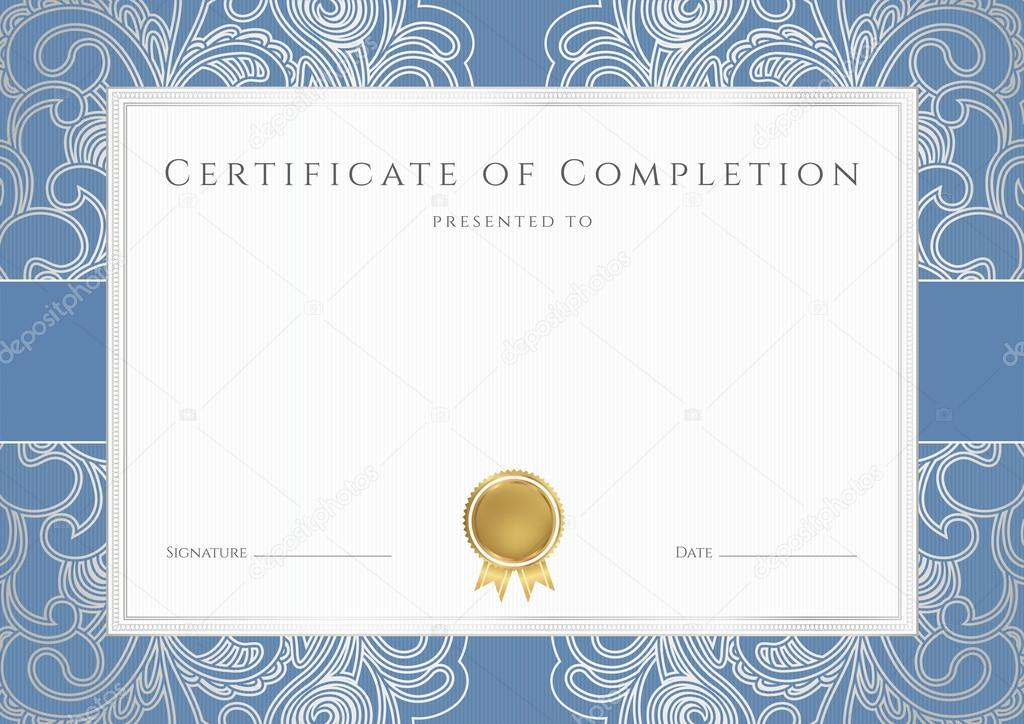 horizontal certificate of completion template with floral pattern watermarks blue border and gold medal insignia this background design usable for - Blue Certificate Border Template