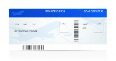 Blue boarding pass (ticket) with aircraft (airplane or plane) silhouette on background. Travel by Aerial Transport. Enjoy your vacation. Isolated vector illustration on white background