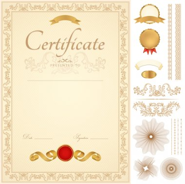 Vertical blue certificate of completion (template) with guilloche pattern (watermarks), borders, medal (insignia), and design elements. Background design usable for diploma, invitation or awards