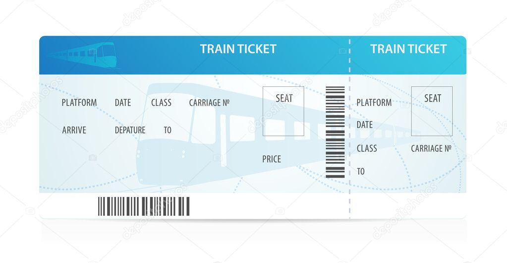 vector train ticket template layout with train silhouette on