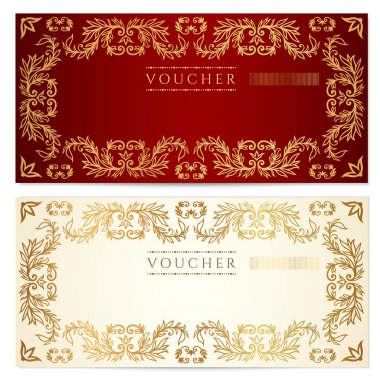 Voucher (gift certificate) template with pattern, floral border. Background usable for gift voucher, coupon, banknote, certificate, diploma, currency, check, cheque. Vector in gold, red (maroon) color