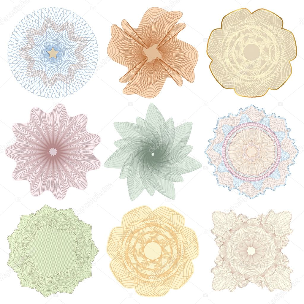 Set (collection) of colorful watermarks. Guilloche pattern (line elements) for money design, voucher, currency, gift certificate, coupon, banknote, diploma, check, cheque, note