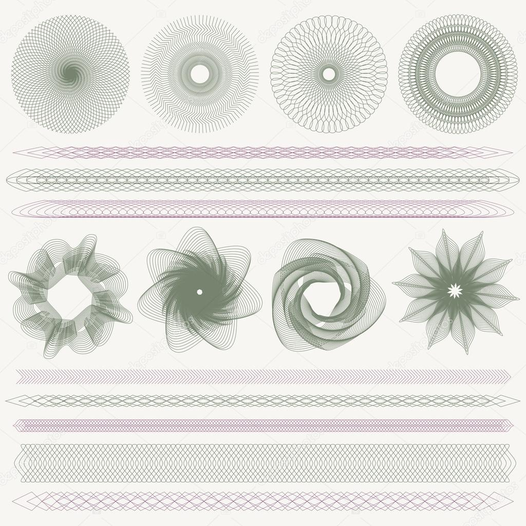 Set collection of colorful watermarks and borders guilloche set collection of colorful watermarks and borders guilloche pattern line elements for money design voucher currency gift certificate coupon yadclub Image collections