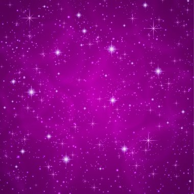 Abstract dark violet (petunia) background with sparkling, twinkling stars. Cosmic atmosphere illustration. Universe. Vector