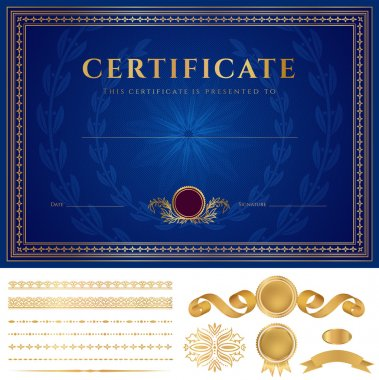 Blue Certificate of completion (template or sample background) with guilloche pattern (watermarks), golden borders, medal, elements. Design for diploma, gift voucher, official, awards (winner). Vector