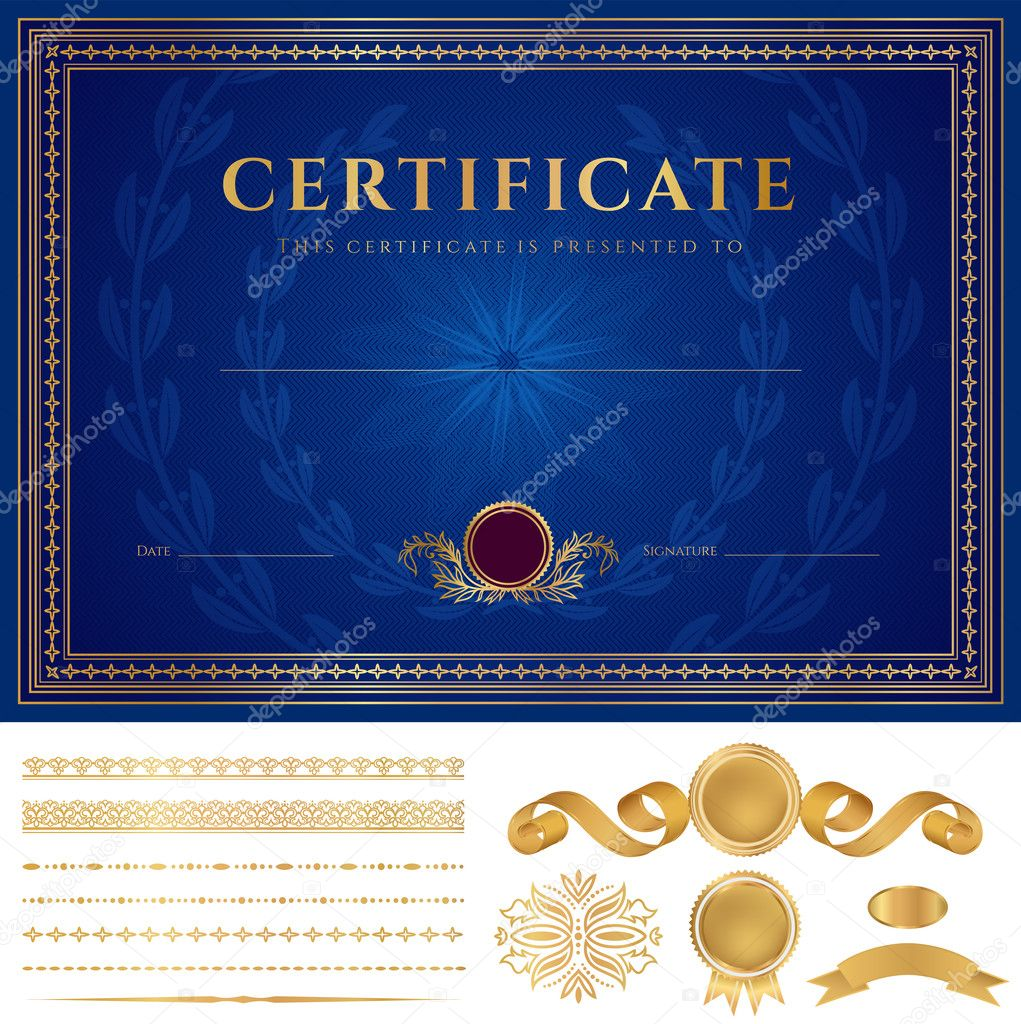 Blue certificate of completion template or sample background also useful for degree certificate business education courses certificate of achievement competitions certificate of authenticity xflitez Images