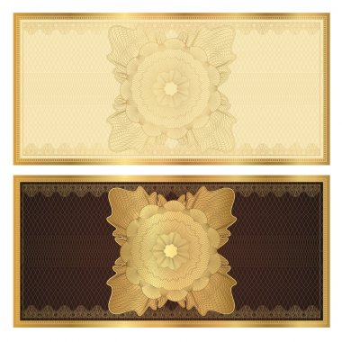 Gift certificate (Voucher) template with guilloche pattern (watermarks) and border. Background usable for coupon, banknote, money design, currency, note, check, cheque. Vector in golden, brown colors