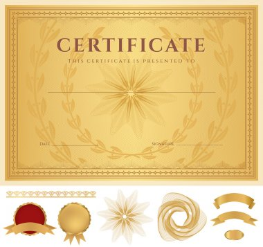 Certificate of completion (template or sample background) with guilloche pattern (watermarks), golden borders, medal, elements. Design for diploma, gift voucher, official, awards (winner). Vector
