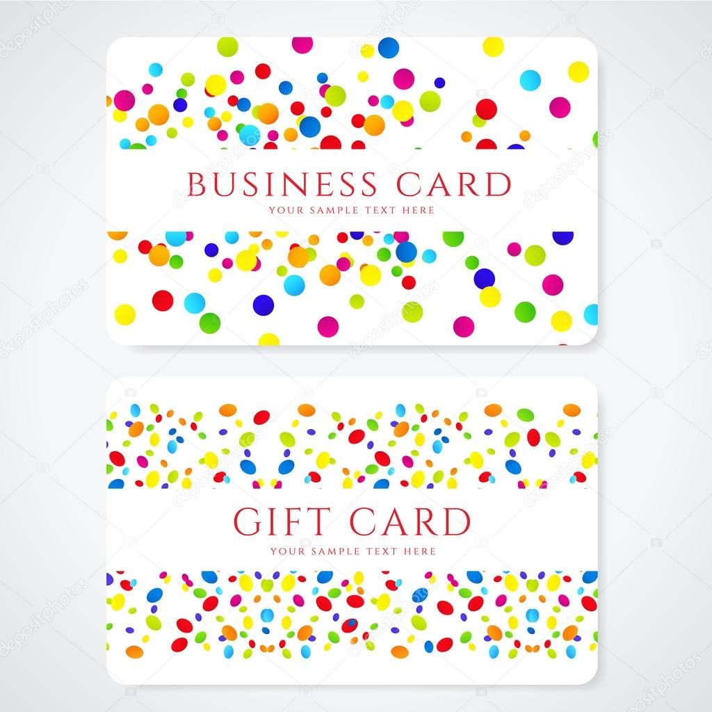 Colorful Business Or Gift Card Template With Abstract Pattern. Bright  Background Design Usable For Gift Coupon, Voucher, Invitation, Ticket Etc.  Business Coupon Template