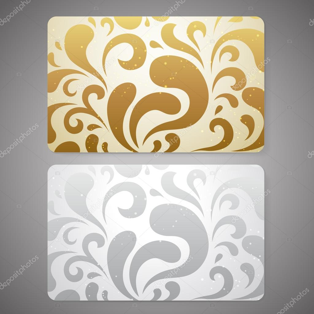 Gift Card Discount Card Or Business Card With Floral Scroll Shape