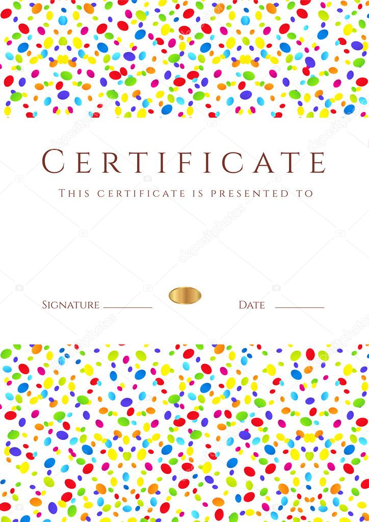 Vertical colorful certificate of completion template for holidays also useful for degree certificate business education courses certificate of achievement competitions certificate of authenticity yelopaper Images