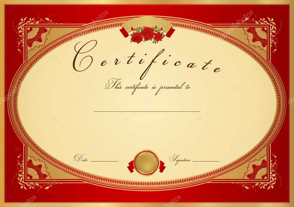 Red certificate of completion template or sample background with also useful for degree certificate business education courses certificate of achievement competitions certificate of authenticity yelopaper Image collections