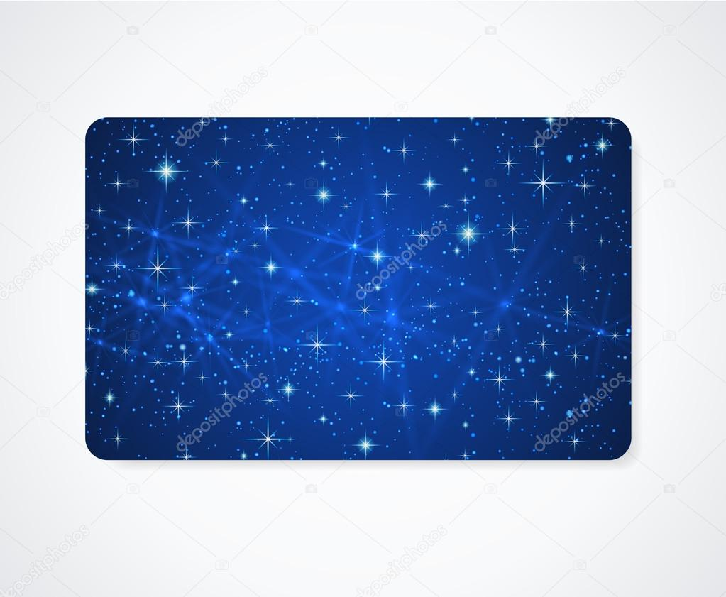 Blue business card or Gift card (discount card) template with ...