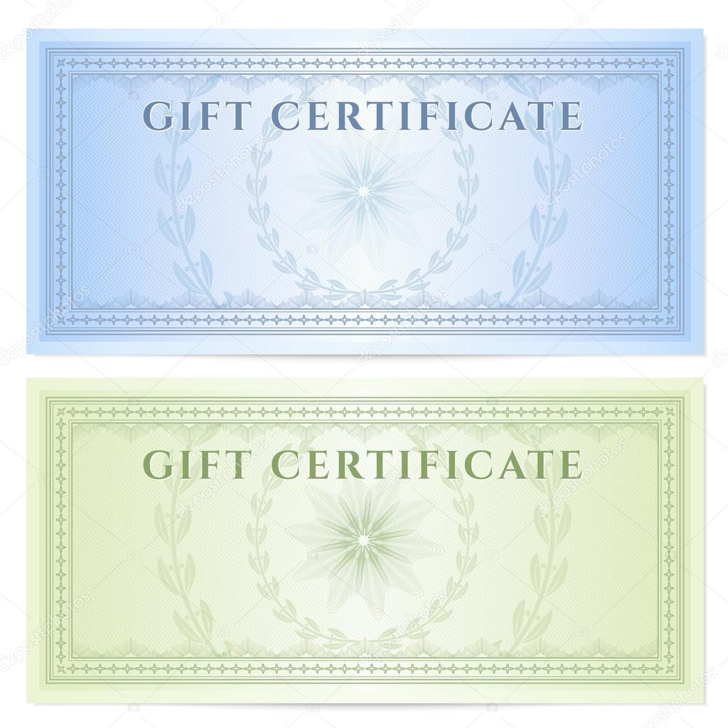 Gift certificate voucher template with guilloche pattern for Cheque voucher template