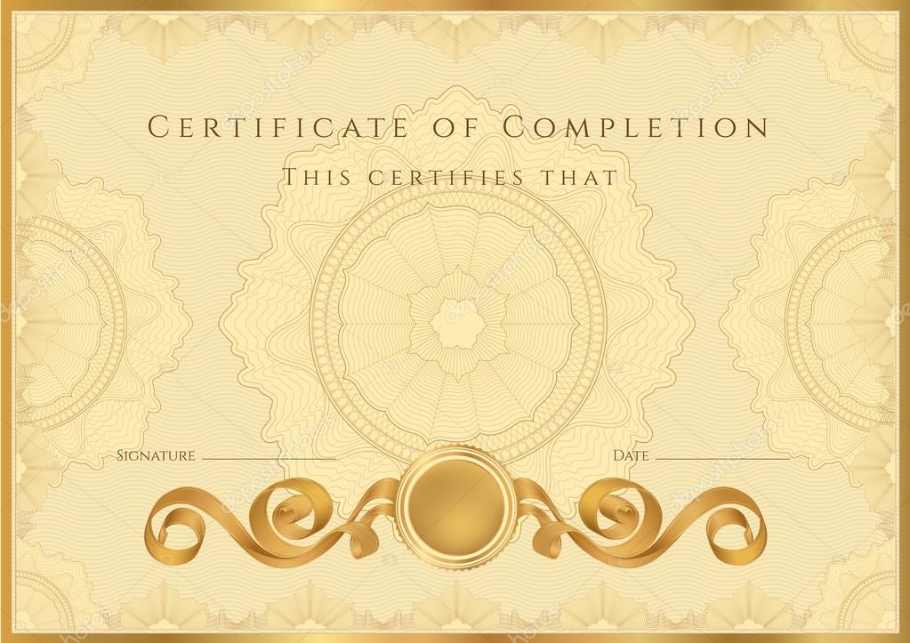 Gold Certificate Of Completion Template Or Sample Background