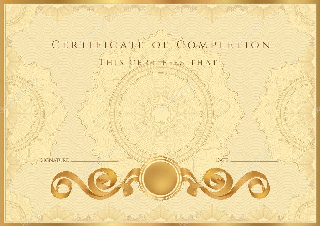 Gold Certificate Of Completion (Template Or Sample Background