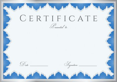 Blue Certificate of completion (template or sample background) with guilloche pattern (watermarks), border. Design for diploma, invitation, gift voucher, official, ticket or awards (winner). Vector