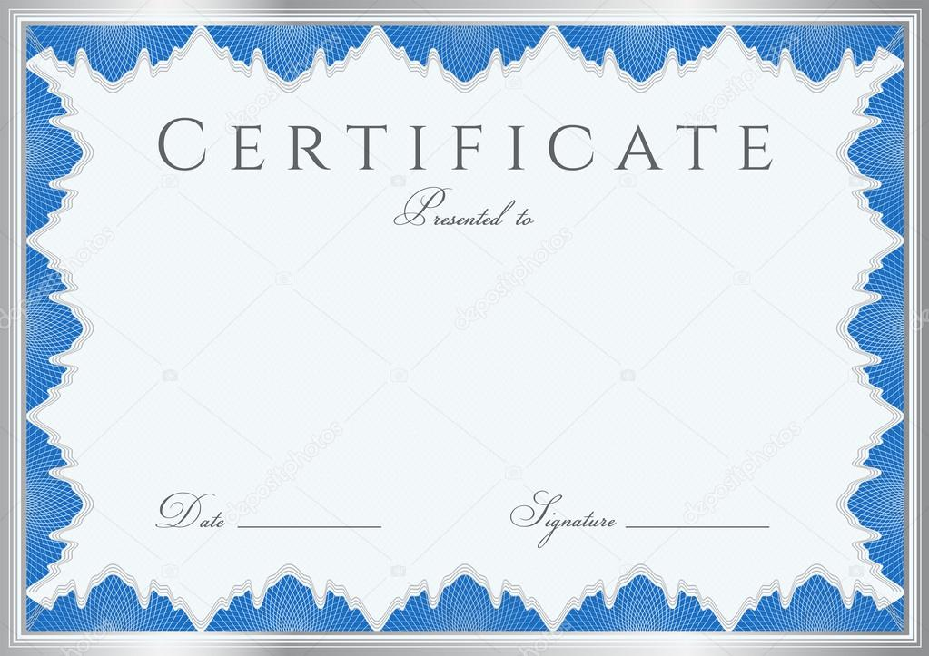 Blue Certificate Of Completion Template Or Sample Background With