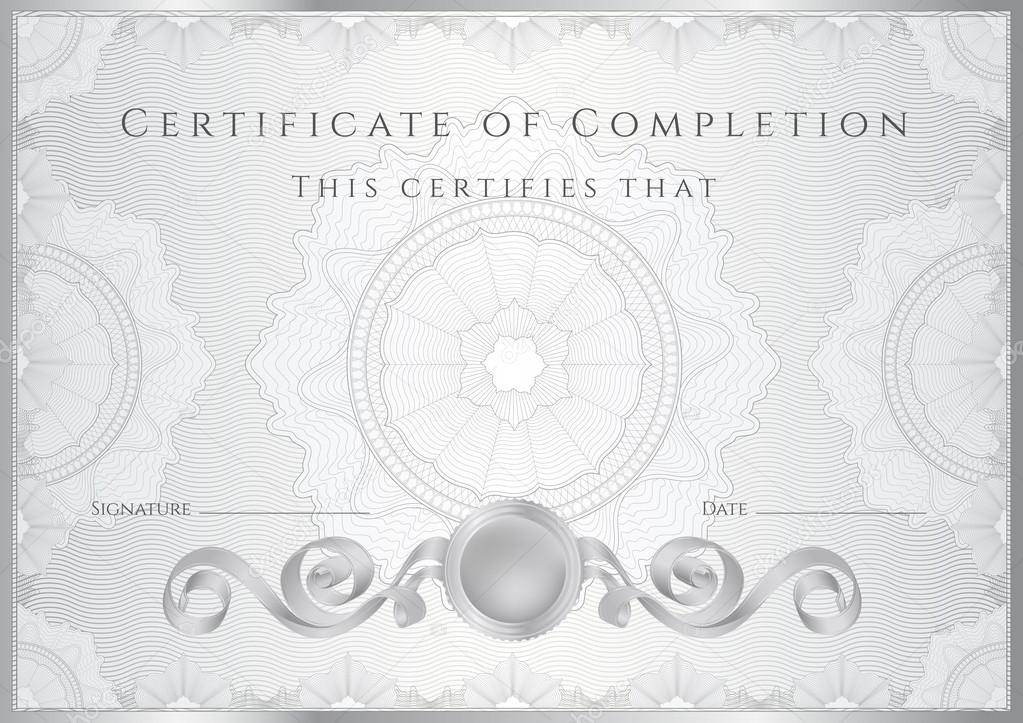 Silver Certificate Of Completion Template Or Sample Background
