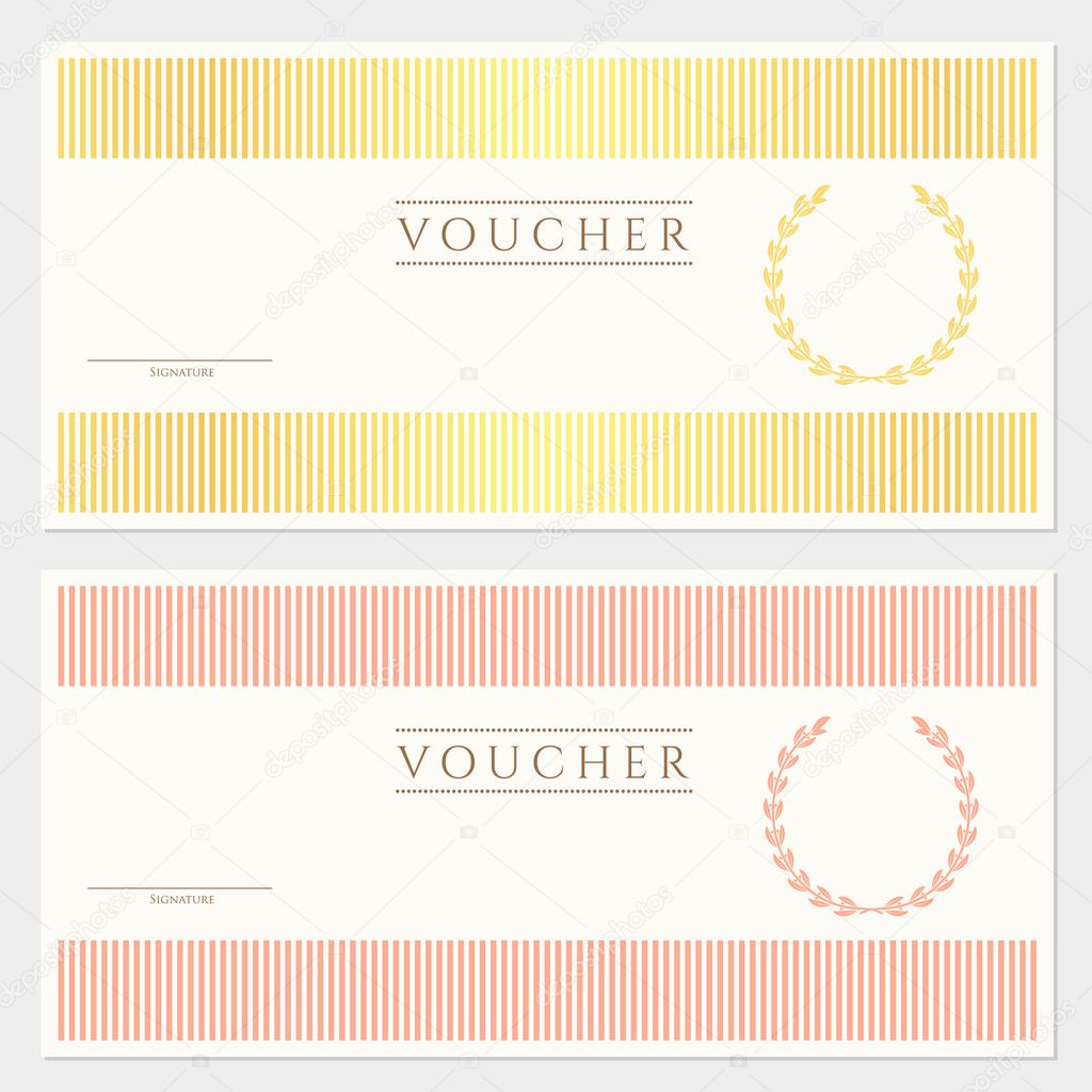 Voucher Gift Certificate Template With Colorful Stripy Pattern And