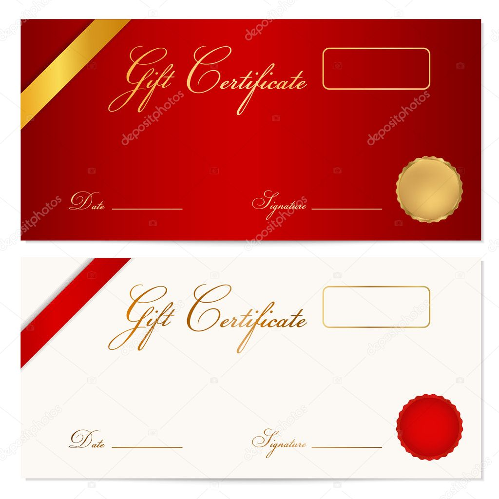 Voucher, Gift Certificate, Coupon Template With Ribbon, Seal Wax.  Background Design For Invitation, Banknote, Diploma, Money Design,  Currency, ...  Money Certificate Template