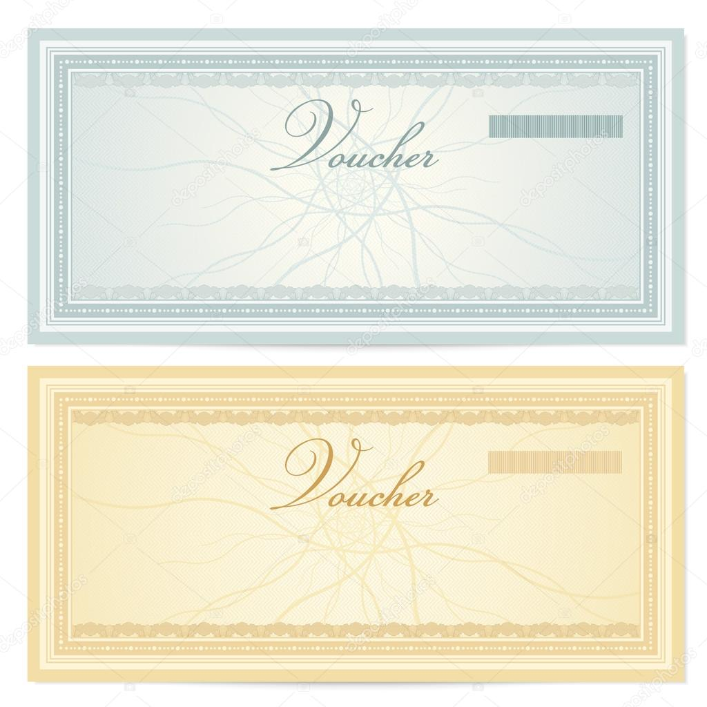 Gift certificate Voucher template with guilloche pattern – Check Voucher Template