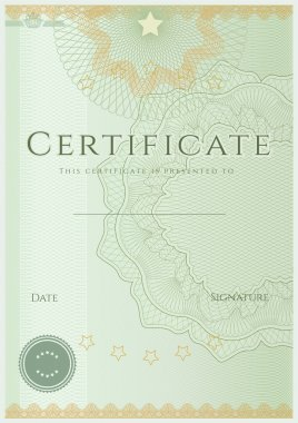 Certificate of completion (template or sample background) with guilloche pattern (watermarks), border. Design for diploma, invitation, gift voucher, official, ticket or awards (winner). Vector