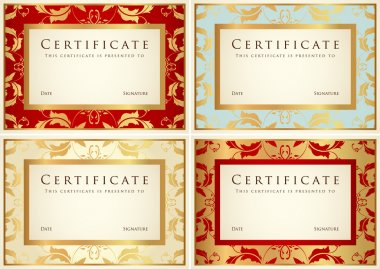 Certificate of completion (template or sample background) with flower pattern (scroll), golden vintage, frame. Design for diploma, invitation, gift voucher, ticket, awards (winner). Vector set